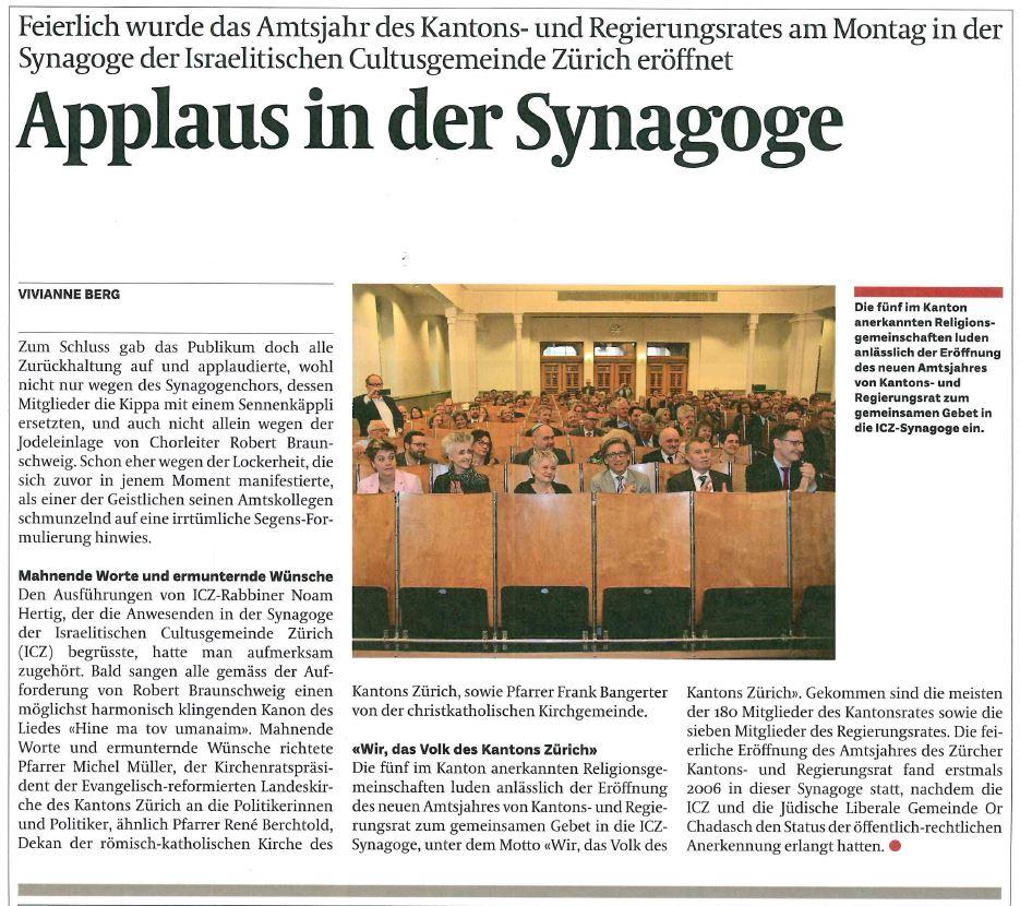 Applaus in der Synagoge